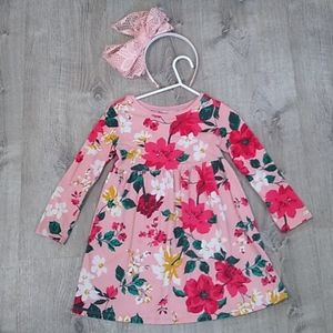Old Navy 4T floral pink long sleeve dress modest